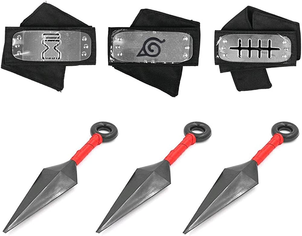 Master Online Naruto Headband, 3 Pcs Leaf Village Logo Metal Plated Headband and 3 Pcs Big Kunai Plastic Toy Cosplay Accessories for Japanese Naruto Fans Black