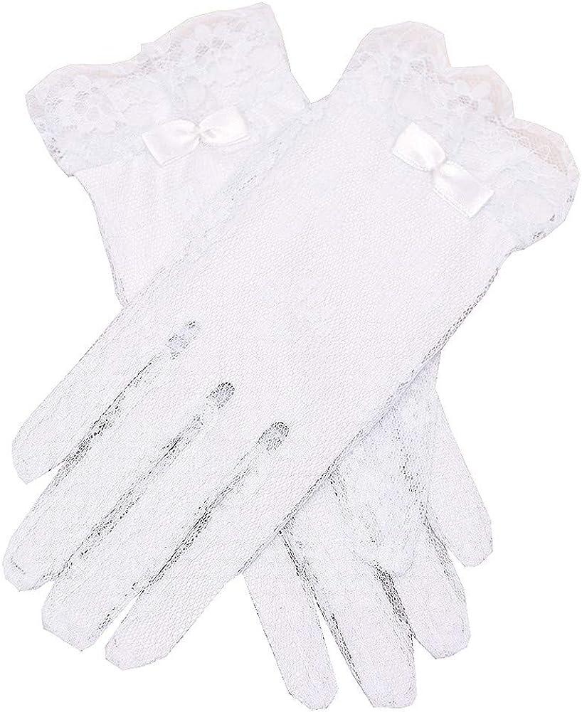 Angels Garment Girls White Lace Covered Communion Flower Girl Gloves 4-16