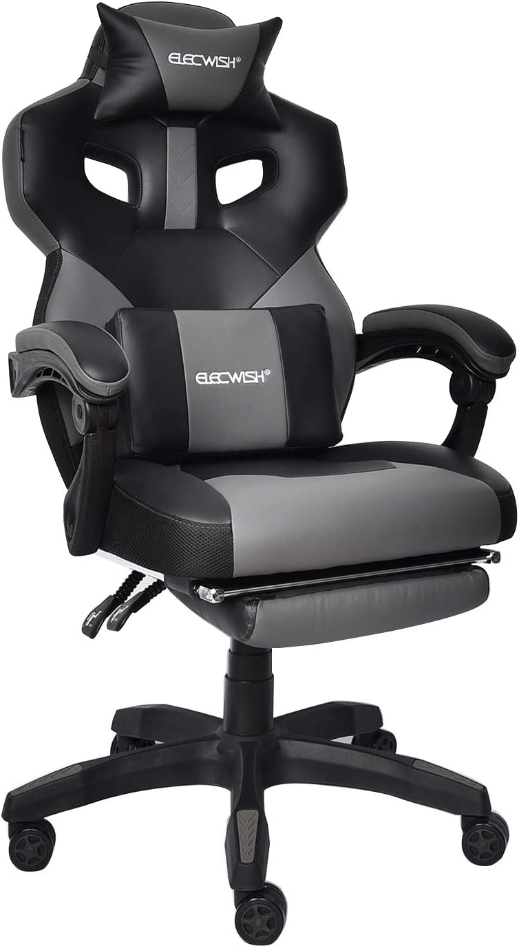Gaming Chair Racing Office Chair High Back Computer Game Desk Chair E-Sports Game Chair Ergonomic Swivel Executive Reclining Chair with Footrest Adjustable Armrest and Lumbar Support Grey