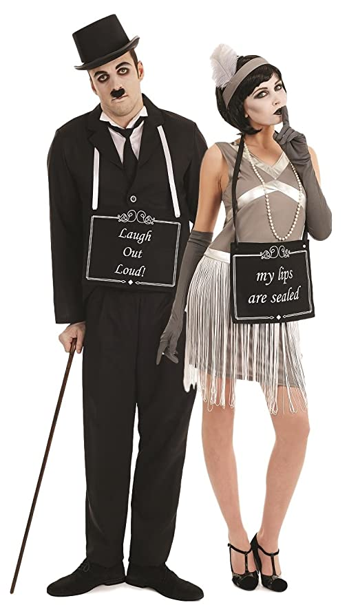 Roaring 20s Costumes- Flapper Costumes, Gangster Costumes Couples Ladies & Mens Silent Movie Stars Film Star Charlie Chaplin 1920s 20s Flapper Hen Do Stag Do Funny Novelty Fancy Dress Costumes Outfits (Ladies UK 12-14 & Mens Large) £50.99 AT vintagedancer.com