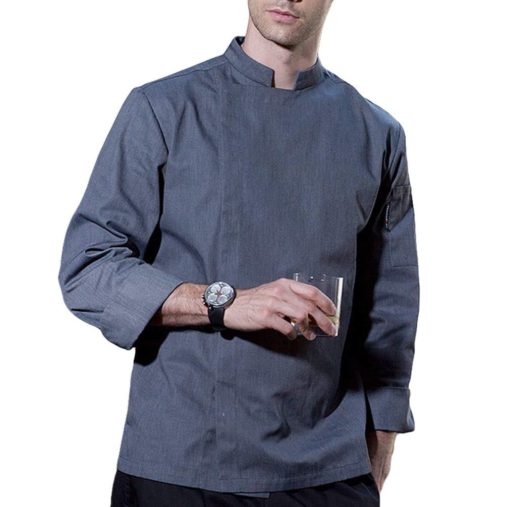 Dexinx Uomo Tinta Unita Traspirante Cuochi Giacca Manica Lunga Uniforme da Cucina Professionale