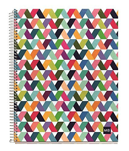 """Miquelrius Spiral Hardcover Notebook, 4 Subject, 140 sheets/280 Lined pages, 6.5 x 8"""", Origami (Light Multi)"""
