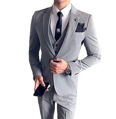 cf65e6423f9 AK Beauty Slim Fit Light Grey Men s 3 Pieces One Button Notch Lapel ...