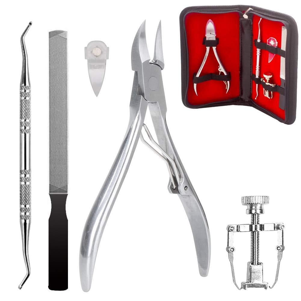 Ingrown Toenail Tool, 5PCS Premium Stainless Steel Pedicure Kit Manicure Nail Clipper Corrector File Lifter