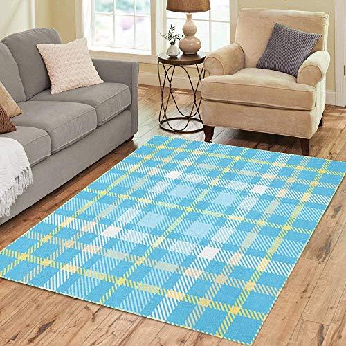 Pinbeam Area Rug Tartan Plaid Pattern Traditional Checker All Over Home Decor Floor Rug 5' x 7' - Checker Rug Area