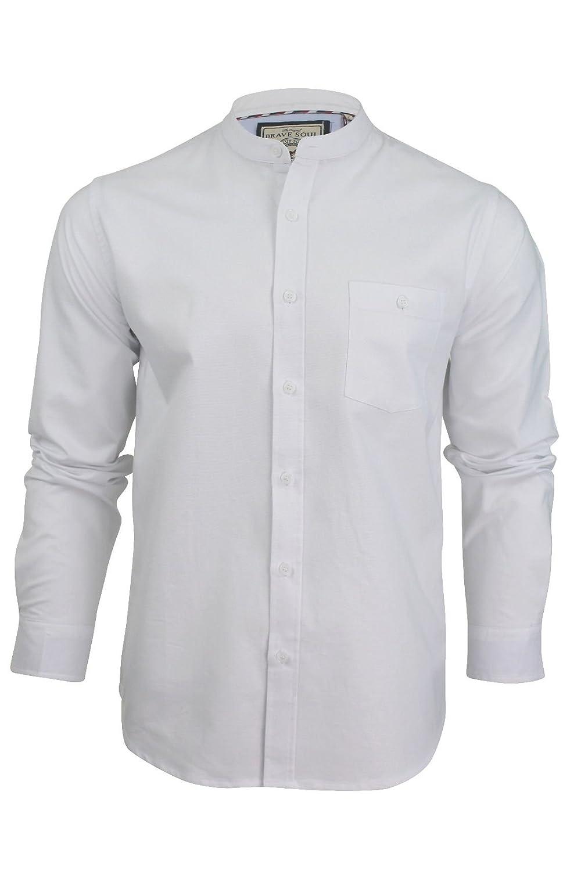 Vintage Shirts – Mens – Retro Shirts Mens Grandad Collar Oxford Shirt by Brave Soul Augustus Long Sleeved £14.99 AT vintagedancer.com
