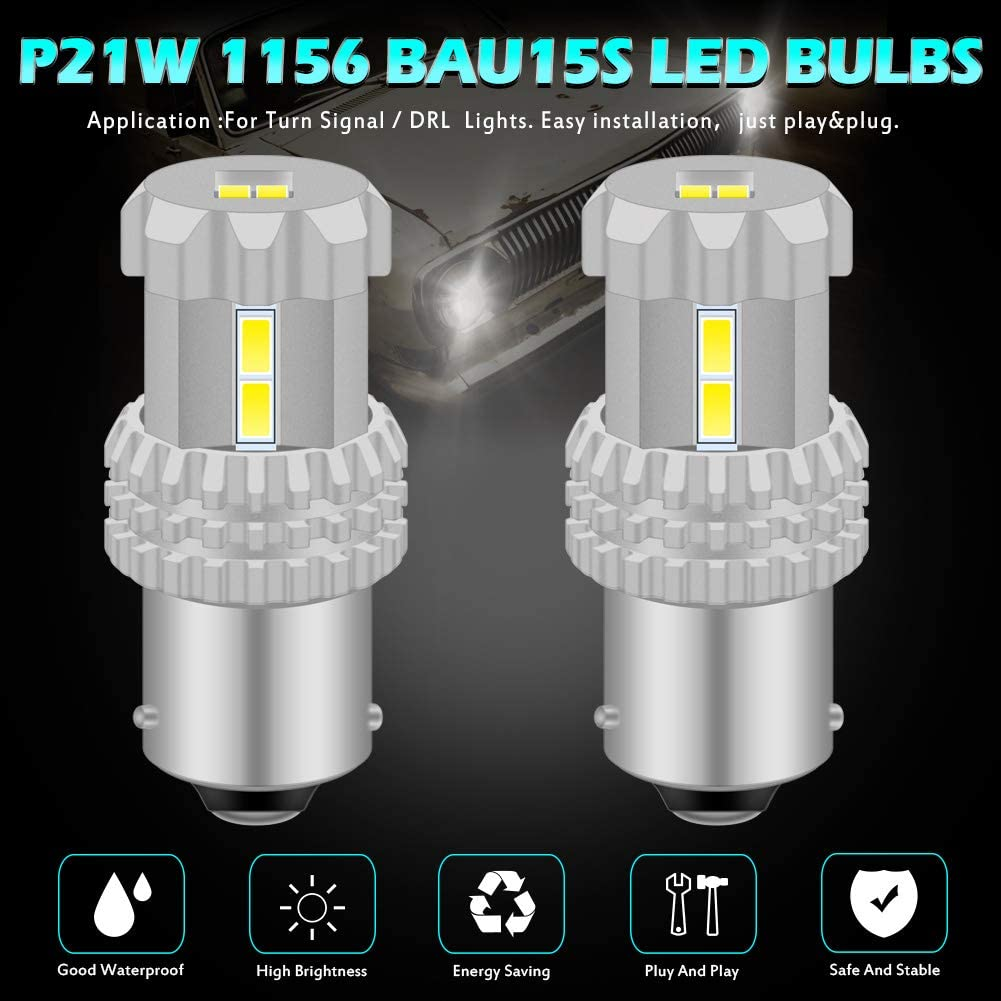 Pack of 2 KATUR BAU15S 7507 1156PY PY21W LED Bulbs High Power 12pcs 3020SMD Extremely Bright 2800 Lumen Replacement for Turn Signal Light Backup Light Tail Light Brake Light 6500K Xenon White