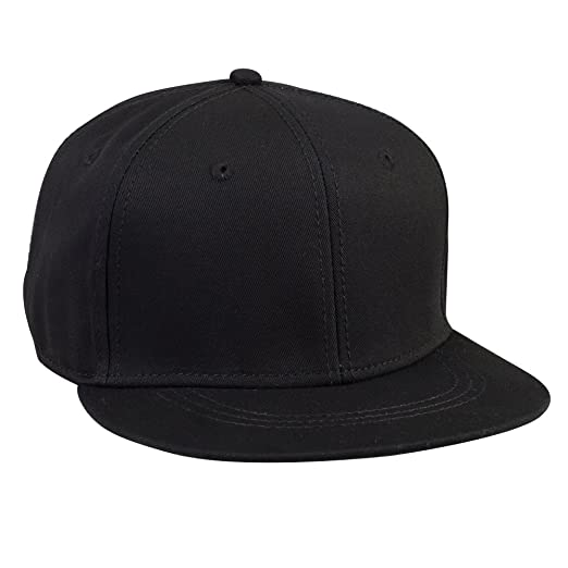 OTTO FLIP Cotton Twill Flat to Flip Round Visor 6 Panel Pro Baseball Cap -  Black 26b983c10342
