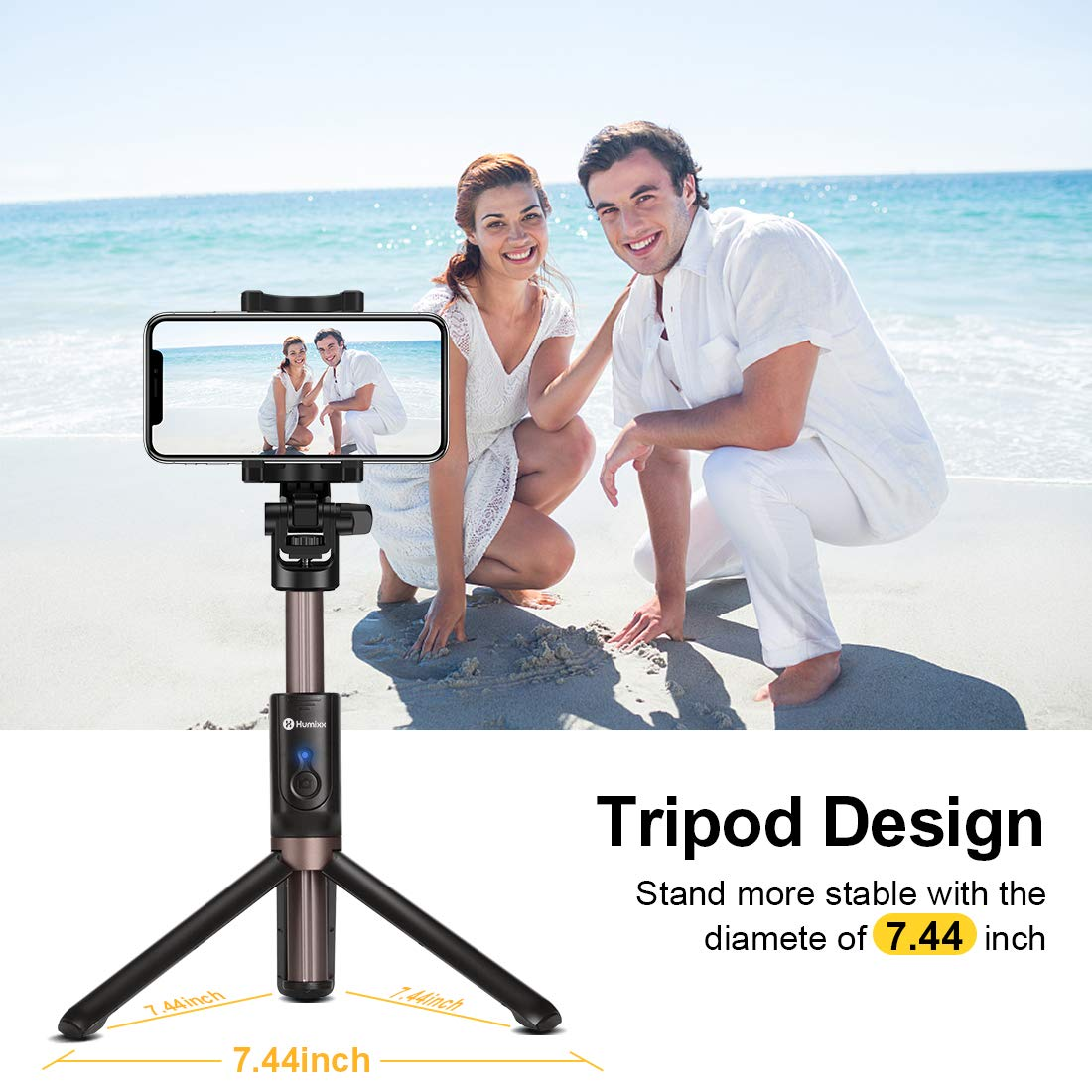 Humixx Selfie Stick, Buletooth 4-in-1 Extendable Selfie Stick Tripod 360° Rotation, Rechargeable Wireless Remote Shutter Compatible with iPhone XR/XS Max, Samsung S10+, Huawei P30, Go Pro and Cameras by Humixx (Image #4)