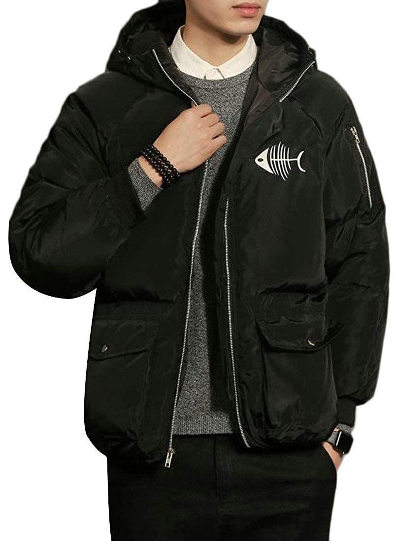 Hajotrawa Mens Puffer Plus Size Hooded Printed Thicken Packable Parka Coat Jacket