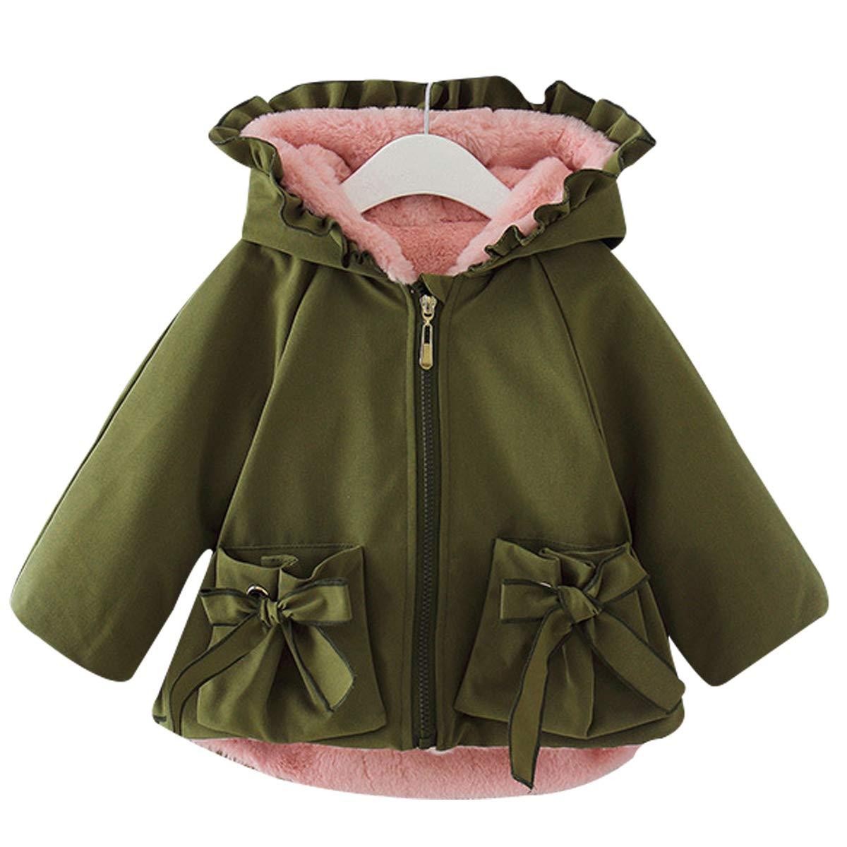 Famuka Winter Baby Girl Jackets Thick Fleece Lined Winter Coat Cute Ruffled Outwear (Green, 6-12 Months) by Famuka
