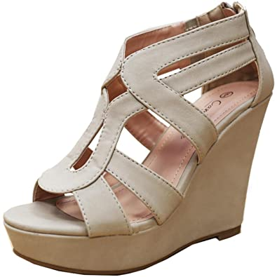 Cambridge Select Womens Open Toe Strappy Platform Wedge Heel Sandal  B074X9B72Q