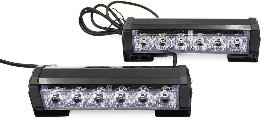 6.5 24W 9 Modes Traffic Advisor Emergency Beacon Warning Vehicle Strobe Flashing Lights Bar Kit for Interior Roof//Dash//Windshield//Grille//Deck 2 X 6 LED Emergency Strobe Light Bar White