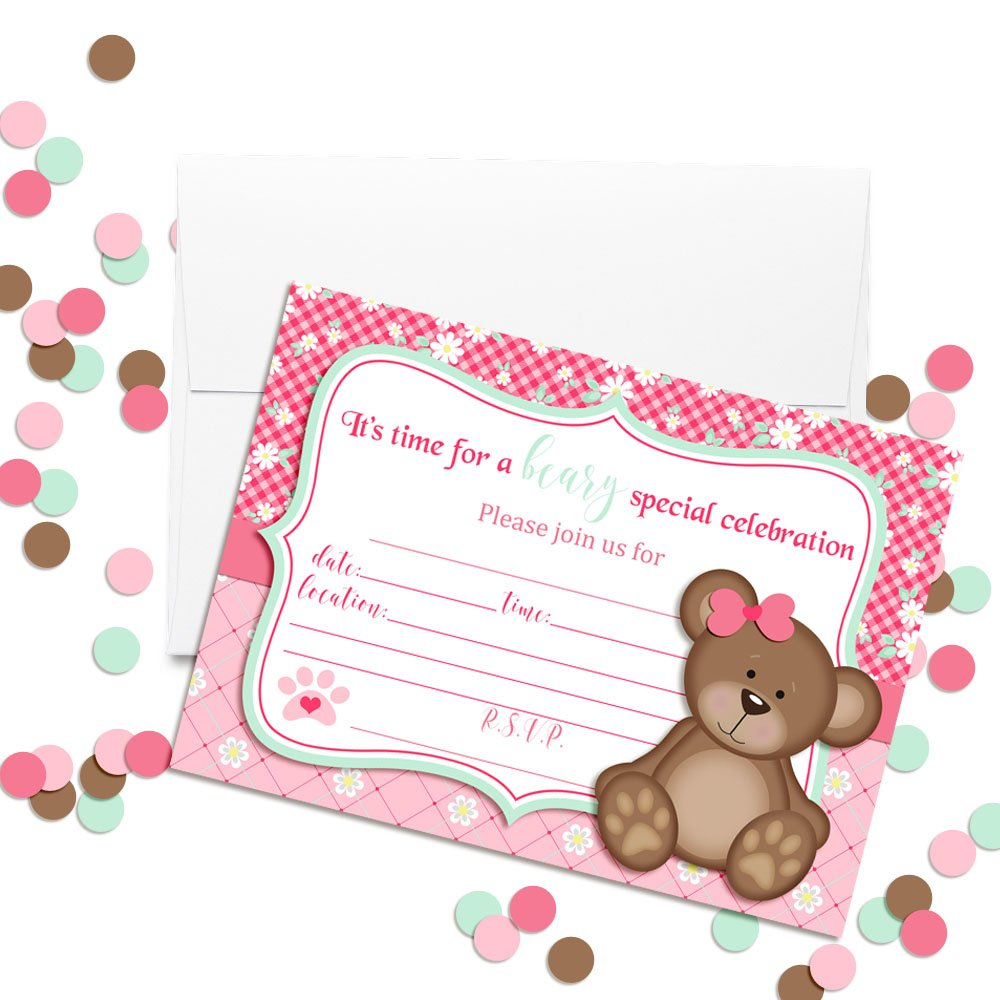 20 5x7 Fill in Cards with Twenty White Envelopes by AmandaCreation Teddy Bear Girl Birthday Party Invitations for Girls