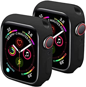 Sundo Compatible for Apple Watch Case Soft TPU Thin Lightweight Protective Bumper Cover Guard Accessories for Smartwatch(Black/Black,Series 6/5/4/SE 40mm)