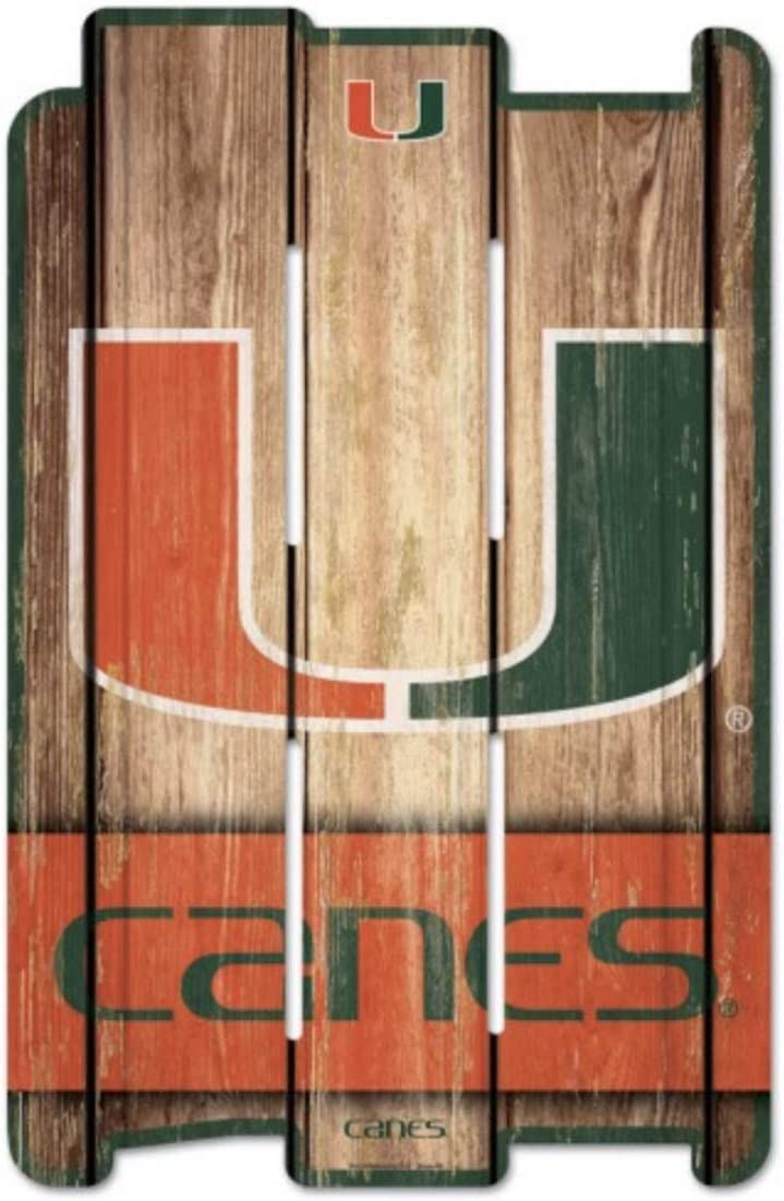 WinCraft NCAA University of Miami Wood Fence Sign, Black