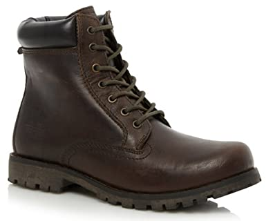 78d096ffd25a New Mens Real Leather Hi Top Casual Lace Up Ankle Worker Boots Shoes Size