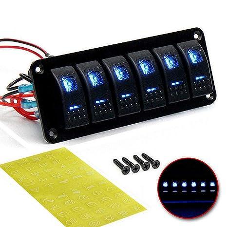 Car Marine Boat 6-Gang Waterproof Circuit Blue LED Rocker Switch Panel Breaker
