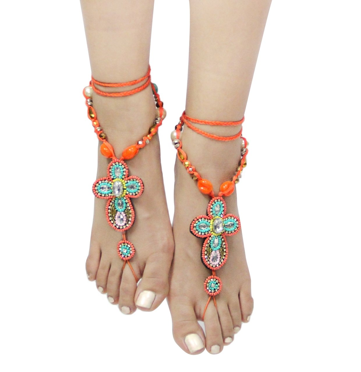 Bohemian Style Seed Bead Barefoot Sandals (Sold As Pair)