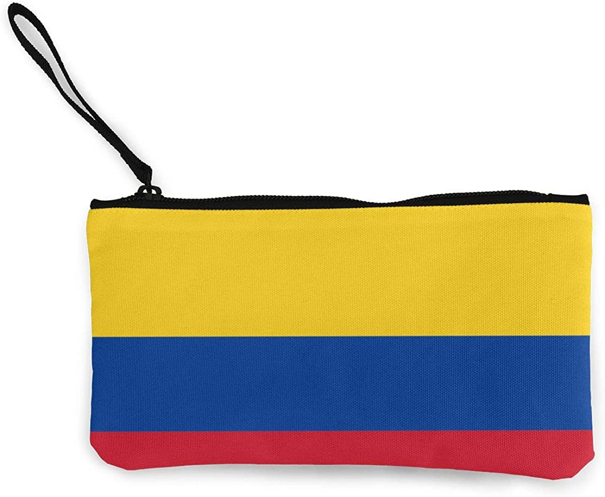 Colombia Flag Wallet Coin Purse Canvas Zipper Money Card Pouch Wallet For Work