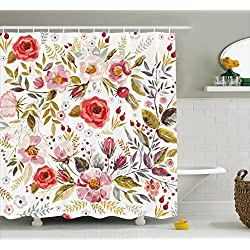 Ambesonne Vintage Shower Curtain by, Floral Theme Hand Drawn Romantic Flowers and Leaves Illustration, Fabric Bathroom Decor Set with Hooks, 70 Inches, Light Pink Red and Cream