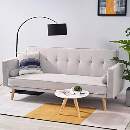 Grey Click Clack Mechanism Sofa Bed 3-Seater Linen Fabric Sofa Bed Recliner with Removable Arm Pads