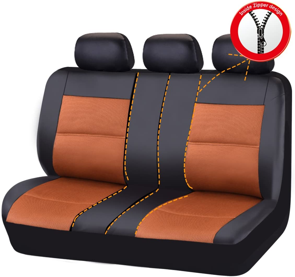 CAR PASS 11-Piece PU Leather Automotive Universal Seat Covers Set with 5mm Composite Sponge Black by CAR PASS