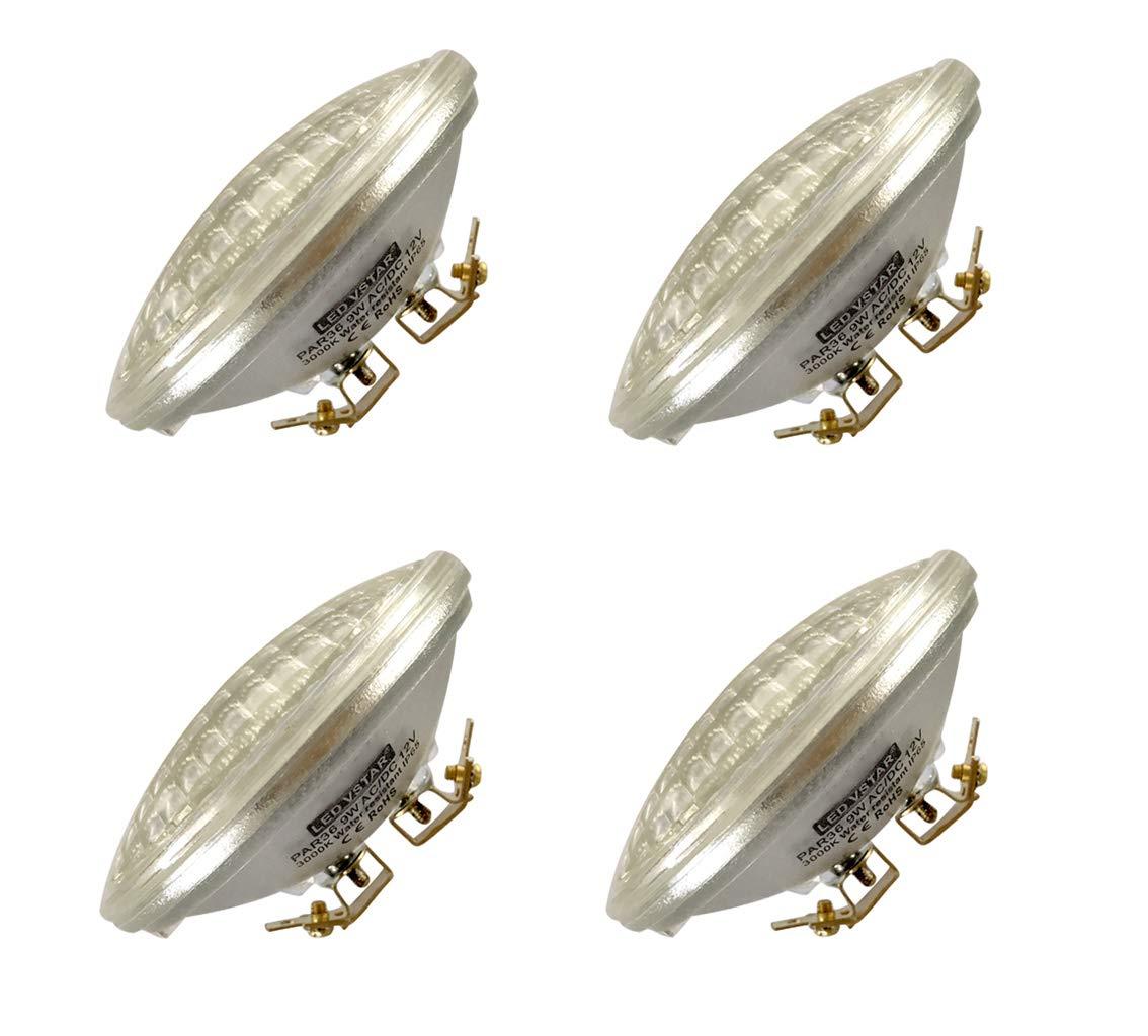 Vstar LED PAR36 9W (Eq to 50W Halogen) 12V AC/DC Lamp Landscape Waterproof (4 Pack-Warm White)
