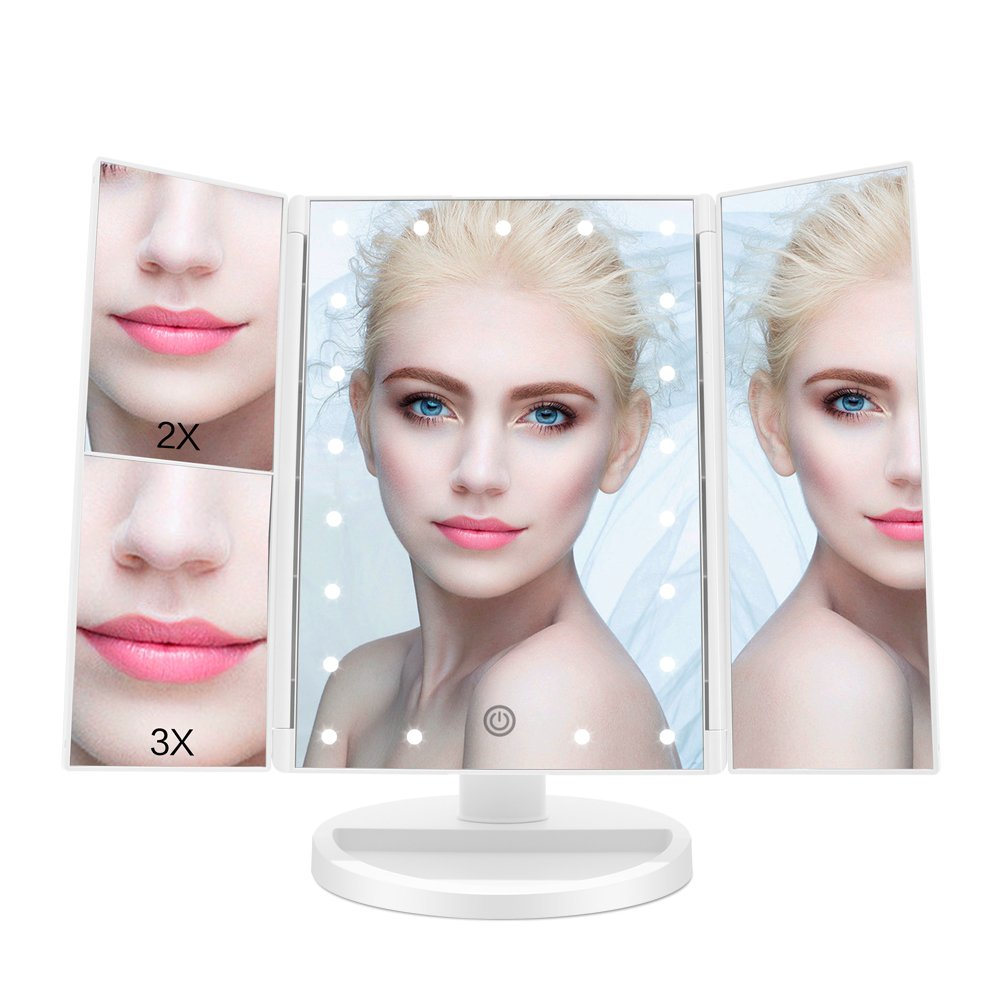 FASCINATE Lighted Makeup Mirror with 21 LED Lights Touch Screen Dimming, Tri-Fold 3X/2X/1X Magnification 180 Degree Rotation Vanity Mirror (White)