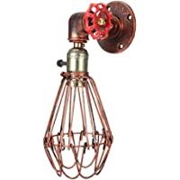 Iron Cage Aisle Pipe Wall Light Lamp,E27 LED Arm Swing Wall Light Retro Industrial Style Iron Light Lamp Hollow Design…