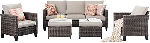 XIZZI Patio Furniture, Outdoor Garden Sofa sectional, Wicker Patio Furniture with Wather Resistant Cushion and 2 Pillows Grey