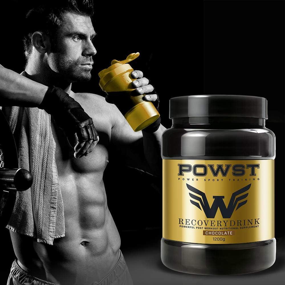 Recuperador Muscular, Recovery Drink, Suplemento Deportivo con Proteínas, Hidratos de Carbono, Vitaminas y Minerales, 1,2Kg (Sabor Chocolate) (7586)