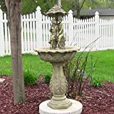 Sunnydaze Lovers Umbrella Solar-on-Demand Outdoor Water Fountain, LED Lights, 43 Inch