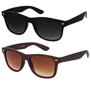 85d2008a0 ELEGANTE Combo of 2 Wayfarer Men's Sunglasses (WYFBLKBRNCMB, 55, Black and  Brown)