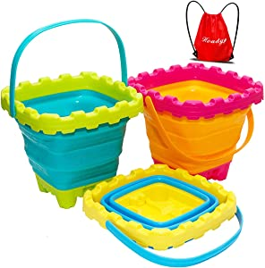 Holady Collapsible Buckets,Sand Buckets for Kids,Foldable Pail Bucket Multi Purpose for Beach, Camping Gear Water and Food Jug, Dog Bowls, Cats, Dogs and Puppys, Camping and Fishing Tub--2.7L( 3 PCS)