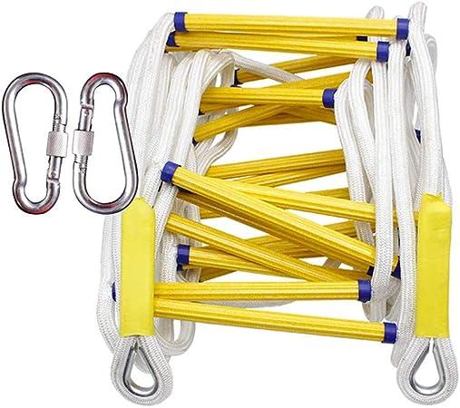 Escalera de emergencia para cuerda de escape contra incendios - Escalera de evacuación de seguridad contra incendios, portátil con ganchos - Escalera rescate contra incendios de 2-3 pisos,10m/32ft: Amazon.es: Hogar