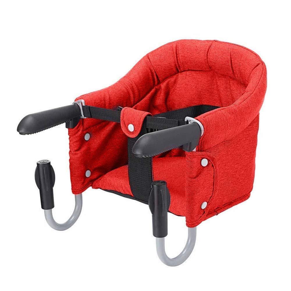 Vertvie Siège de Table Bébé Chaise Haute Pliant Accessoire pour Enfants avec Sangles Portable Pliable (Rouge) Jewelry_Awesome