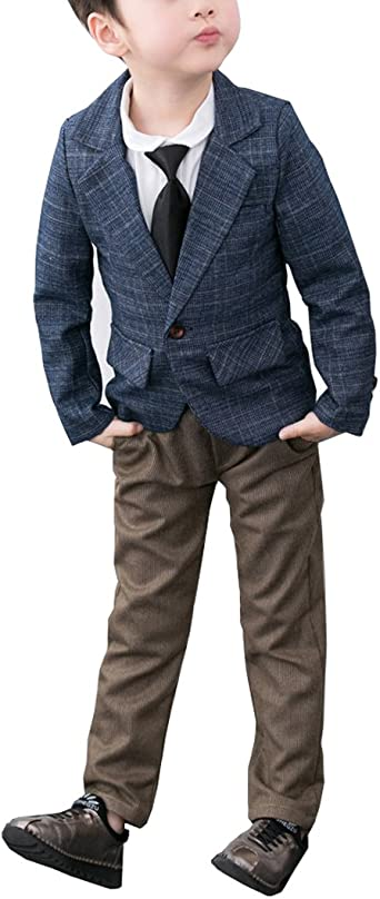 Amazon.com: Boys Casual Suit Set 2 Pieces Blazer and Pants Set Blue Gray  Red 3 Colors: Clothing