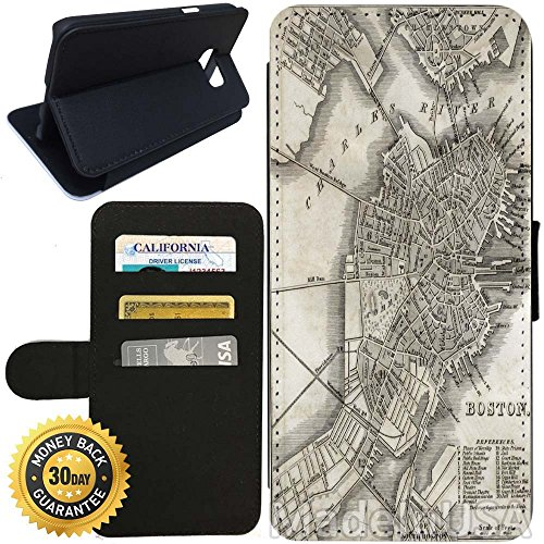 Flip Wallet Case for Galaxy S7 (Boston Antique Map) with Adjustable Stand and 3 Card Holders | Shock Protection | Lightweight | Includes Stylus Pen by - Target Stores Boston