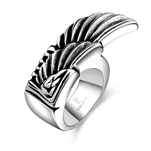 Amazon.com: Hombre, de acero inoxidable creativo ala anillo ...