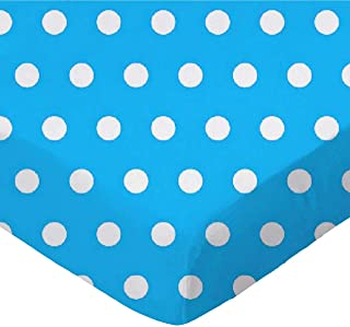 product image for SheetWorld Fitted Stroller Bassinet Sheet - Polka Dots Turquoise - Made In USA