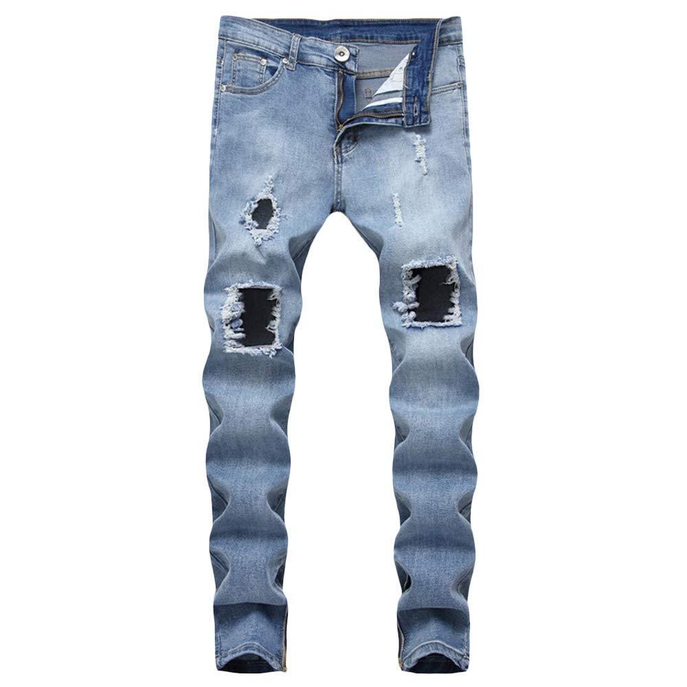 Mid Waist Large Holes Denim Pants Slim Fit Straight Leg Men Jeans Blue