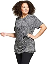 c40e3582572 Ava   Viv Women s Plus Size Marled Ruched Short Sleeve T-Shirt - Black