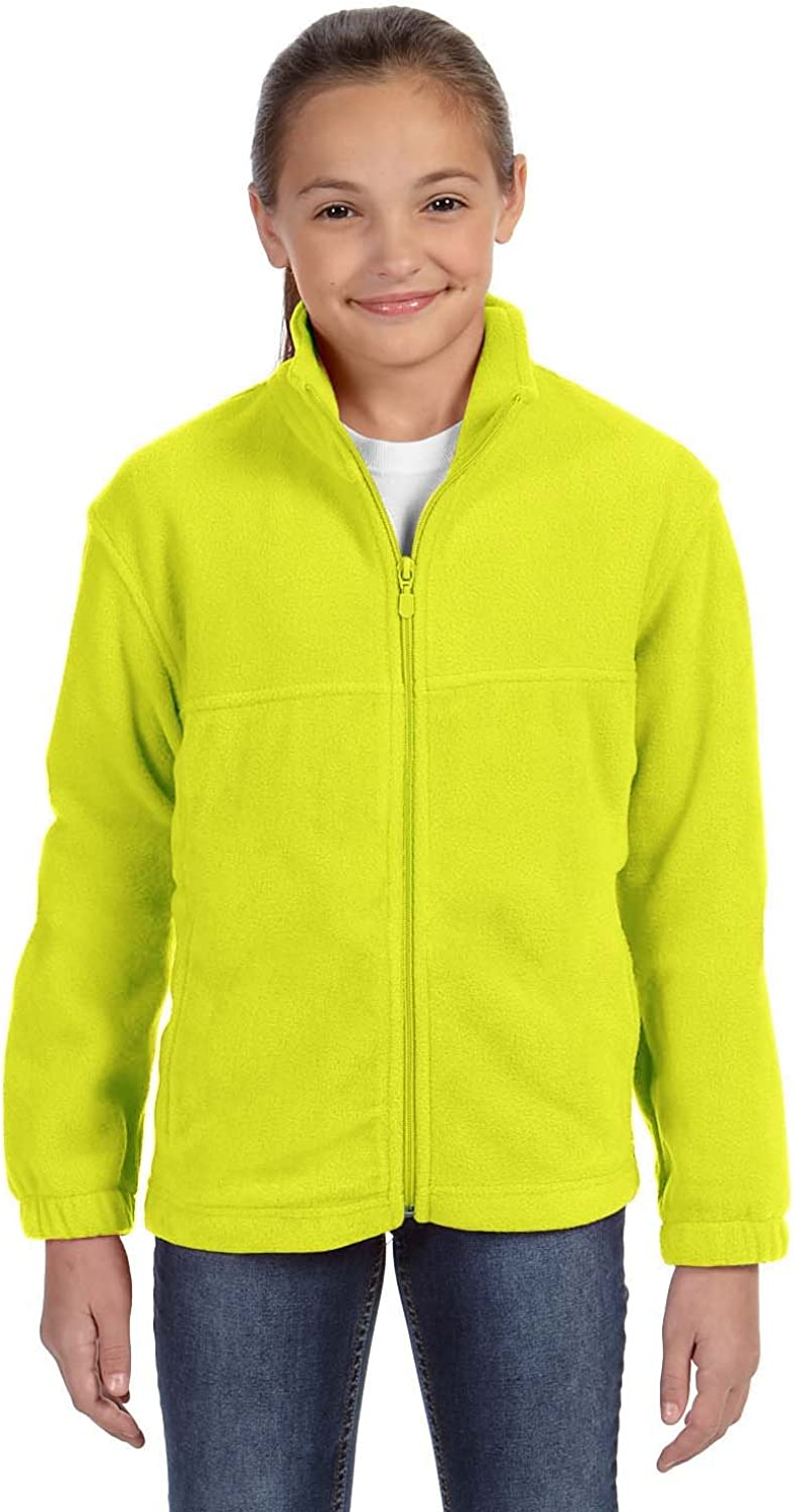 SAFETY YELLOW Harriton Youth Full-Zipper Polyester Fleece Pullover
