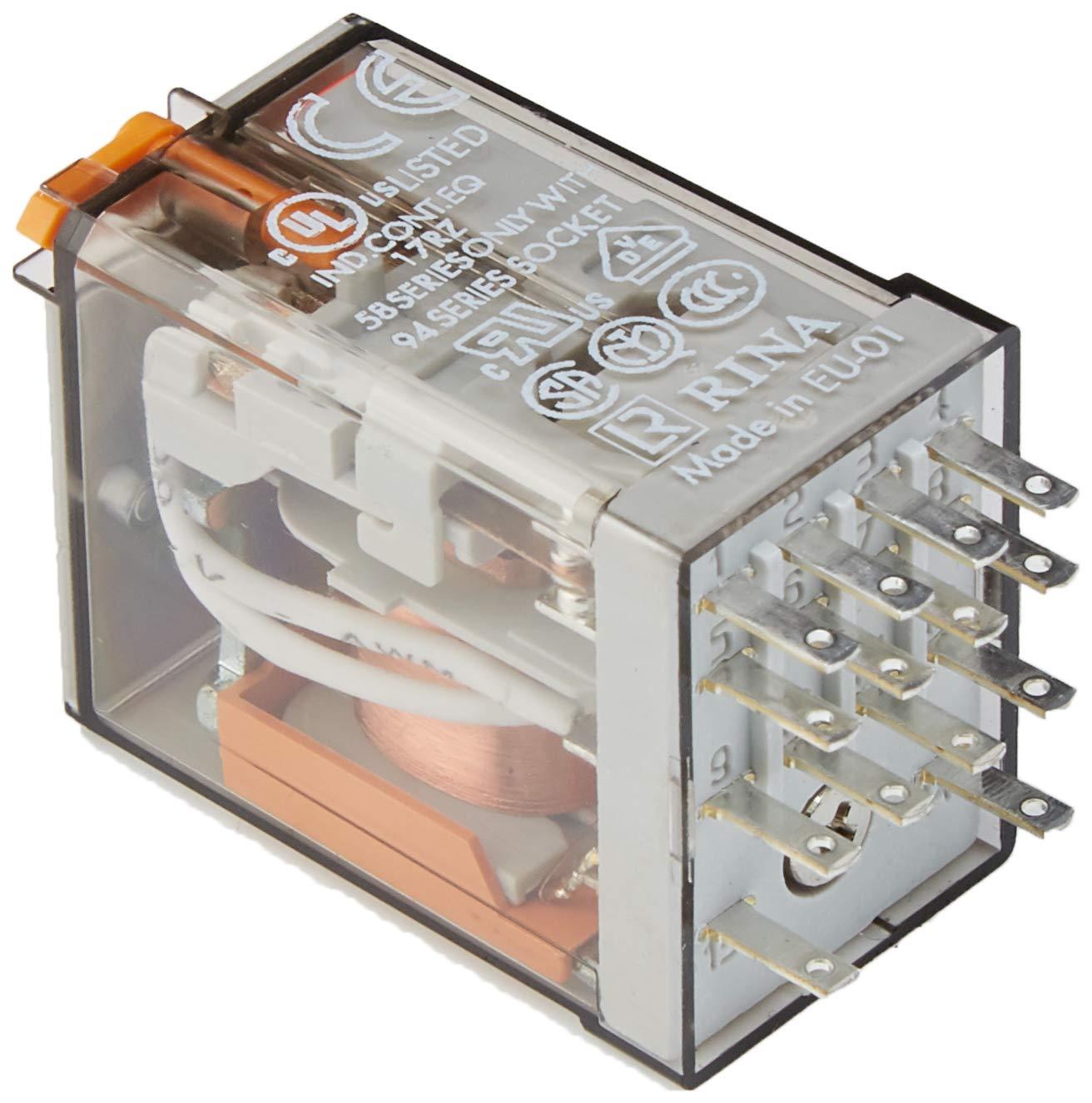 Finder 553482300040 Relais embrochable 4RT 7 A 230 VAC Bouton test//Indicateur M/écanique dans une seule unit/é