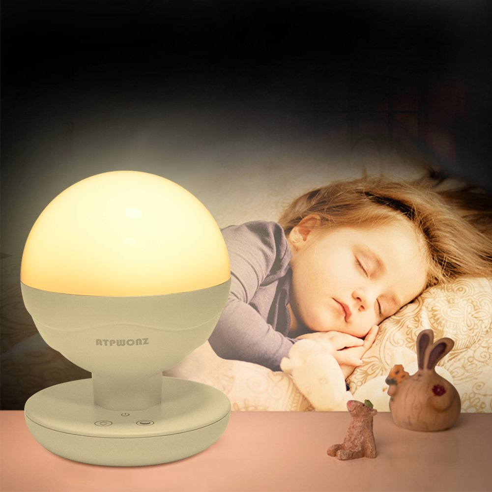ATPWONZ LED Night Lights Kids Nursery Nightlight Bedside Lamp Breastfeeding Touch Control Night Feeding Light (White, Warmwhite)