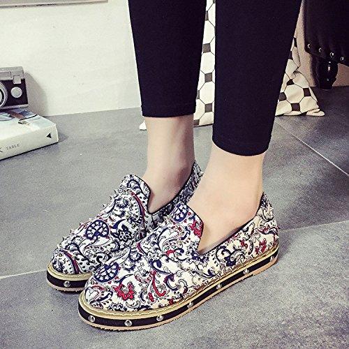 &ZHOU Rivet/impression/plat fond peu profond/ethnique/femmes de/home/chaussures/chaussures/confort/style , white , 39