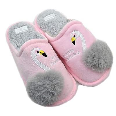 Women's swan Animal Embroidered Flamingos Memory Foam Warm Slippers Indoor Outdoor | Slippers
