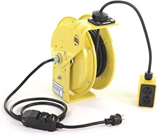 product image for KH Industries RTB Series ReelTuff Industrial Grade Retractable Power Cord Reel with Black Cable, 12/3 SJOW Cable Prewired with GFCI Protected Two Receptacle Outlet Box, 20 Amp, 25' Length, Yellow Powder Coat Finish
