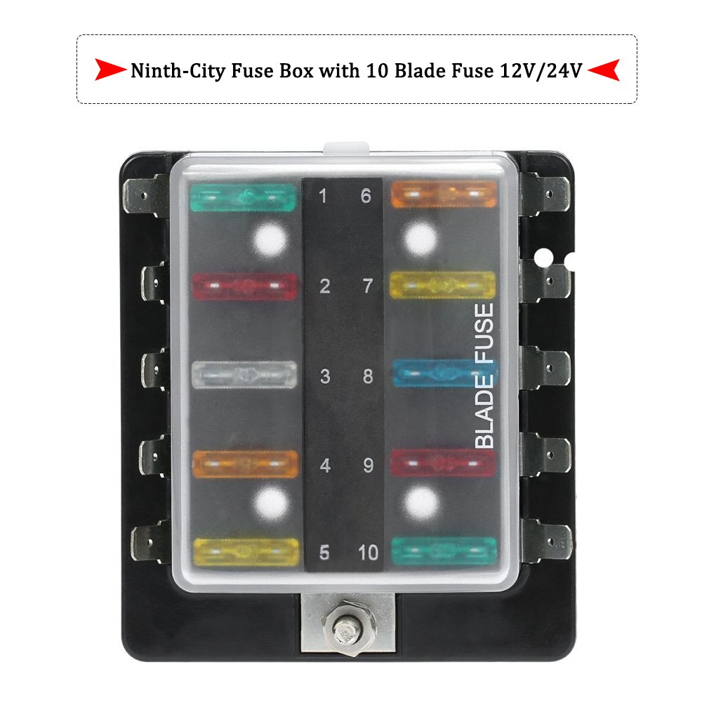 61Wc4ryF%2BpL._SL1000_ amazon com ninth city 10 circuit led fuse block and cover kit car Universal Fuse Box at fashall.co